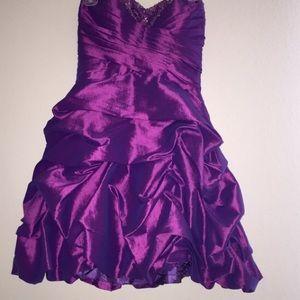 Purple beaded ruffled dress